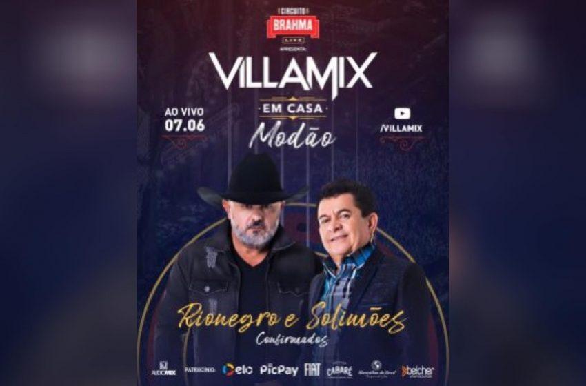 Rionegro e Solimões são uma das atrações especiais da live VillaMix Modão